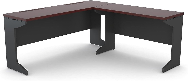 Ameriwood Home Pursuit L-Shaped Desk Bundle, Cherry/Gray