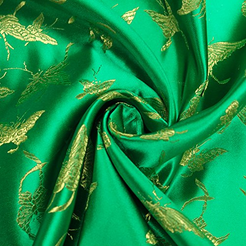 Green Chinese Satin with Lime Brocade and Embroidery Woven Satin Fabric