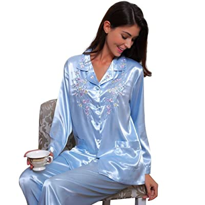 Womens Silk Satin Pajamas Set Sleepwear Loungewear