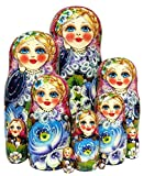 Large 10'' Tall Rare Beauty 10-Piece Russian Nesting Doll Authentic Floral Style One-of-a-kind Work of Art Babushka. Signed by Artist