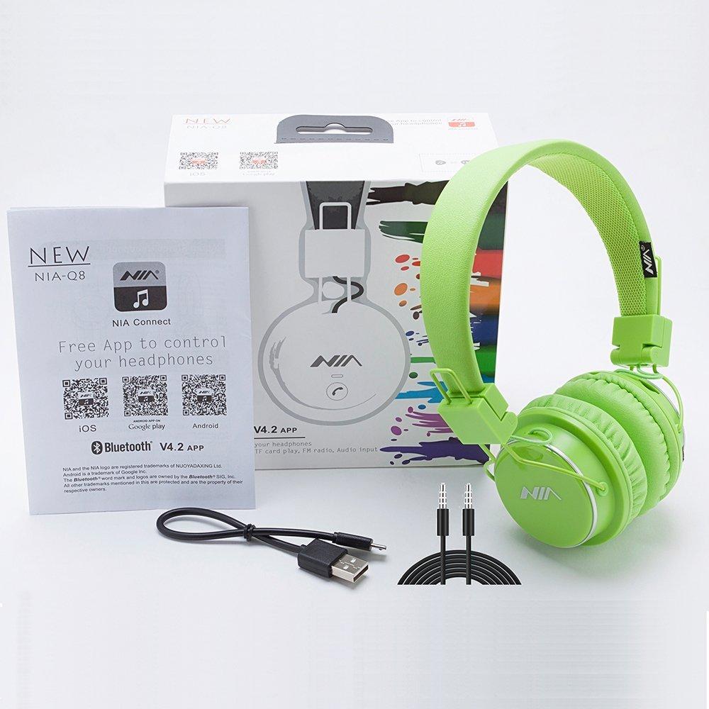 Auriculares inalámbricos Bluetooth, estéreo y plegables con micrófono para iPhone, Android y Supreme Comfort, portátil y flexible en color verde oreja, NIA ...