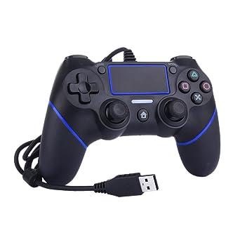 Mandos y controles para ps4 LESHP Controlador de Gamepad con cable USB Joystick con vibración dual