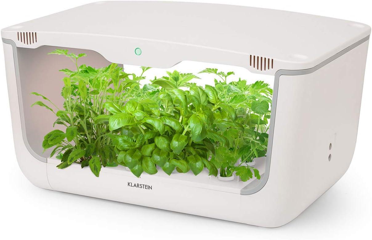 KLARSTEIN GrowIt Farm - Jardín Inteligente de Interior, Jardín hidropónico, hasta 28 Plantas en 25-40 días, Iluminación LED automática y Sistema irrigación, Depósito 8 litros, Grow It Smart!