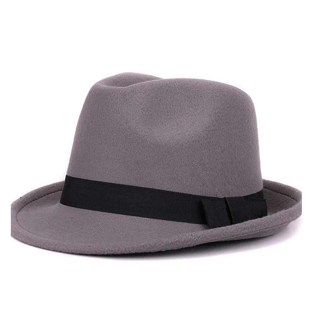 a2afbcf0715 HHF Caps & Hats Women Men Fedora Hat for Winter Autumn Elegant Lady  Gangster Trilby Hat Felt Homburg Church Jazz Hat Size 56-58CM (Color :  Beige, ...