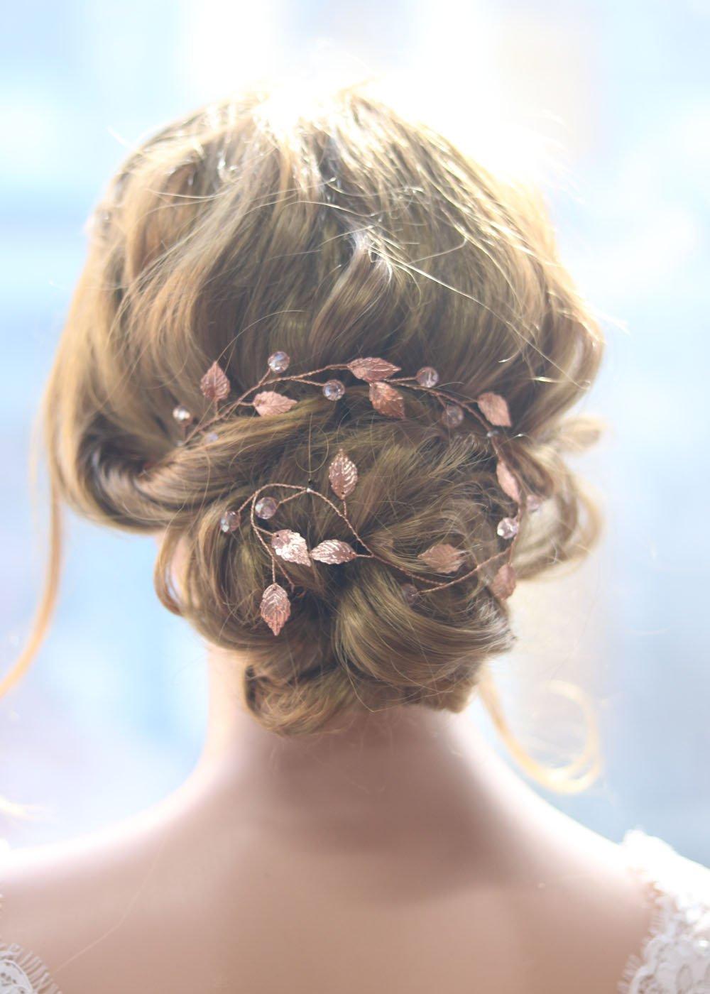Amazon Com Missgrace Bridal Rose Gold Pearls Long Hair Vine