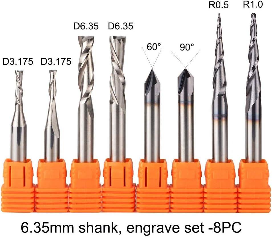 2pcs Solid-Carbide 6mm Shank TiAIN Coat 4-Flute End Mill CNC Router Bit For Wood