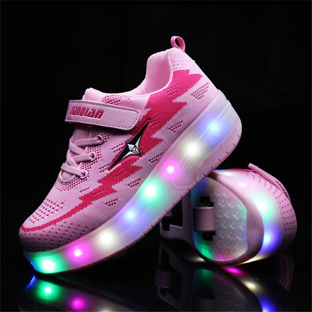 Gar/çons Fille LED Clignotante Chaussures /à Skates avec USB Rechargeable et Ajustable Roues Lumineuse Patins /à roulettes Multisports Outdoor Gymnastique Sneakers