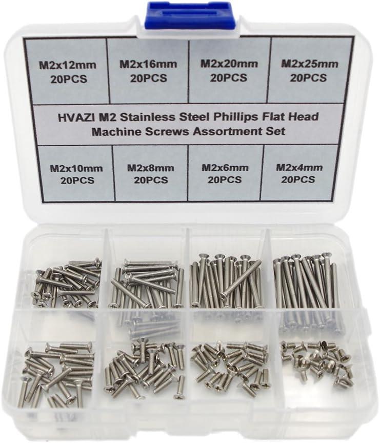 HVAZI M2 Stainless Steel Phillips Flat Head Machine Screws Assortment Kit