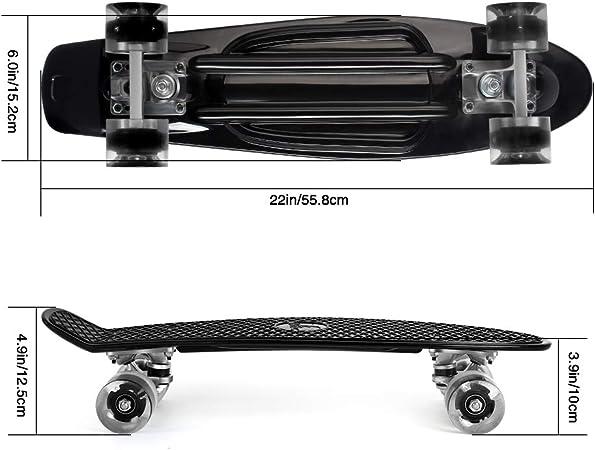Skateboard Rodamiento ABEC-7 56cm//22 Pulgadas Para Principiantes J/óvenes Adolescentes Ni/ñas Ni/ños Con 4 PU LED Ruedas Trasl/úcidas Monopat/ín Mini Cruiser Completo,Retro Crucero Con All-in-One Skate