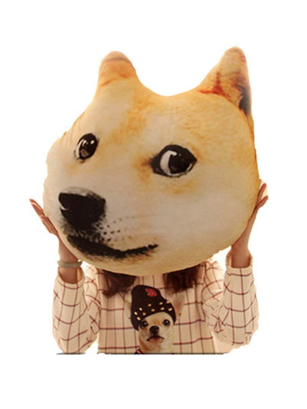 Ganesa Deepak 3D Printed Husky pillow Yollow Dog Sofa Husky Doge Face Car Cushion (yellow dog)