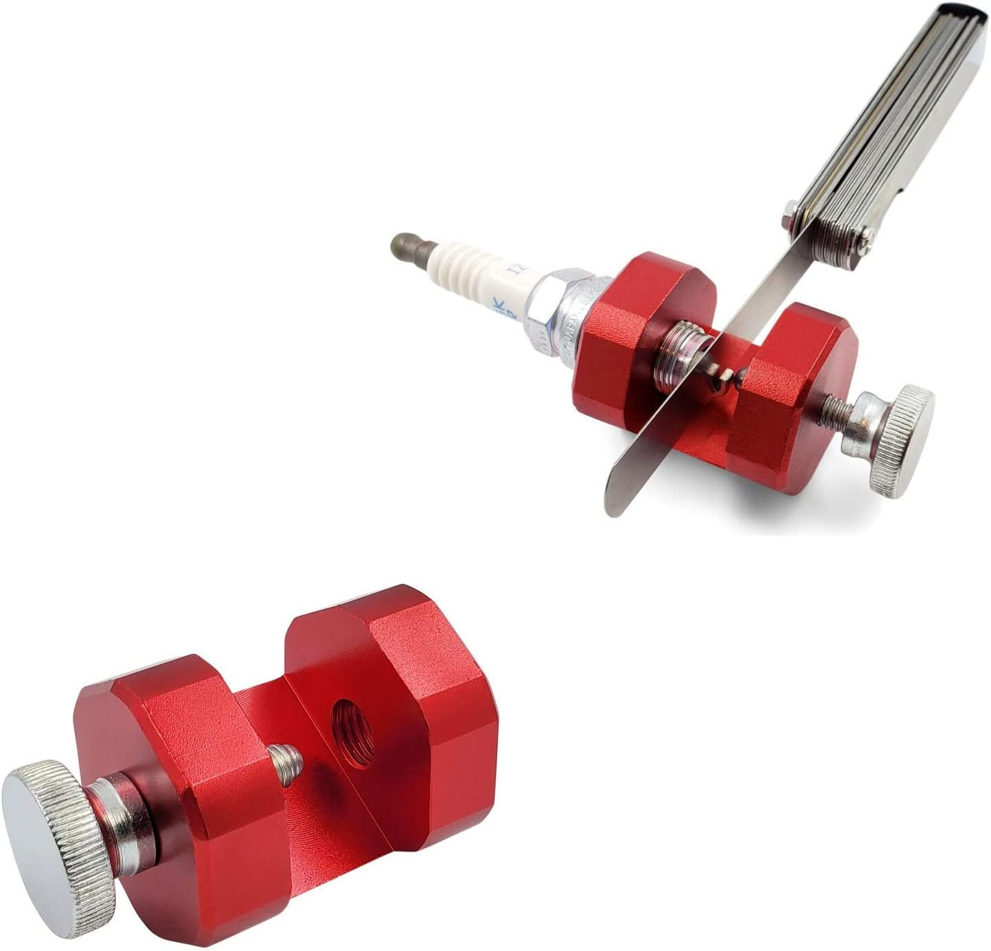K-MOTOR PERFORMANCE Spark Plug Gap Tool with Magnet and Screwdriver 10mm Red