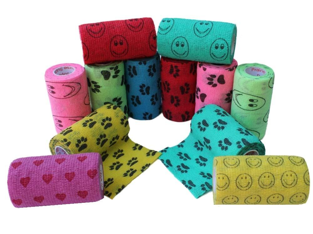 Assorted Colors Self-Adhesive Self Adherent Adhering Flex Bandage Rap Grip Roll for Dog Cat Pet Horse 6, 12, 18, or 24 Packs 4 Inch Vet Wrap Tape Bulk
