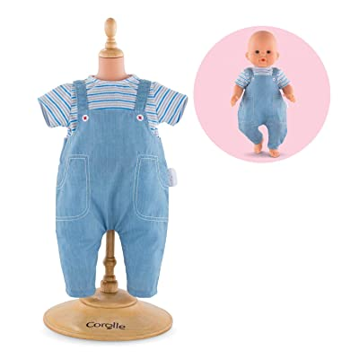 """Corolle Mon Grand Poupon 14"""" Striped T-Shirt & Overalls Toy Baby Doll: Toys & Games"""