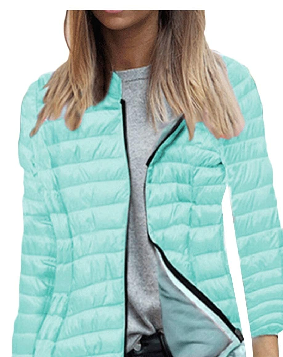 ouxiuli Women's Solid Puffer Coats Ultra Light Packable Hooded Down Jackets