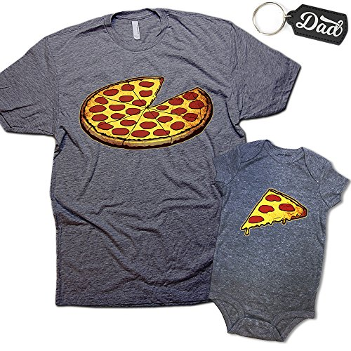 Funny Pizza Pie & Slice Infant Baby Bodysuit & T-Shirt Set Dad Baby Shower Gift (Graphite) (6M & Large)