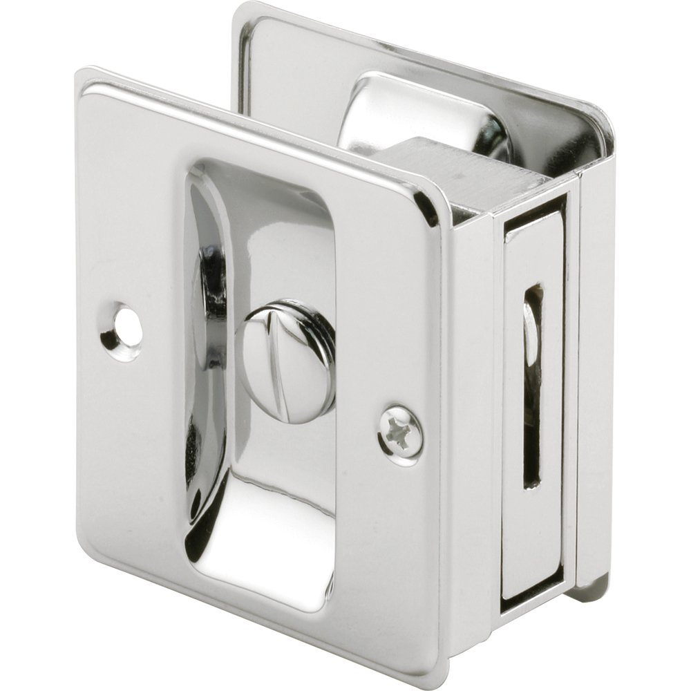 Slide-Co 161887 Pocket Door Privacy Lock with Pull, Chrome Plated