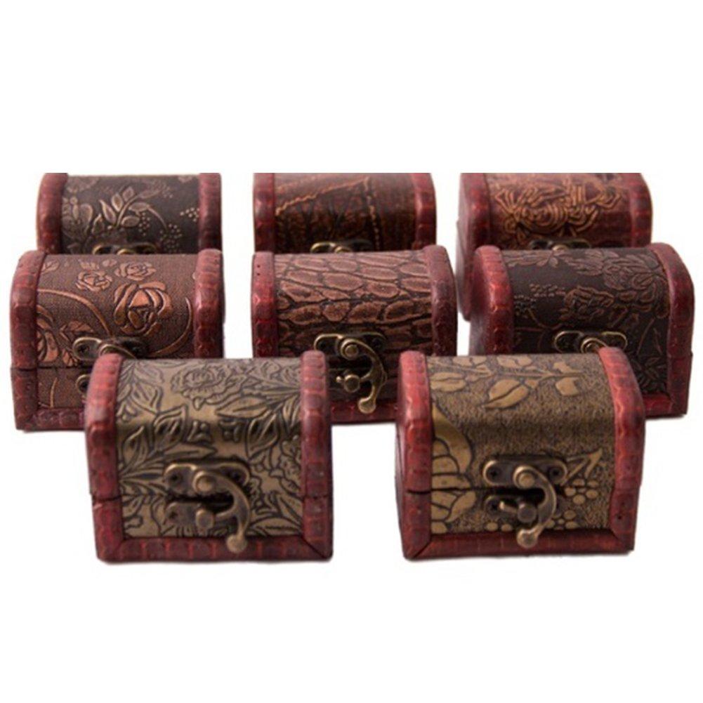 Vintage Mini Jewelry Pearl Treasure Necklace Bracelet Gift Chest Wooden Case Storage Box(Random Pattern)