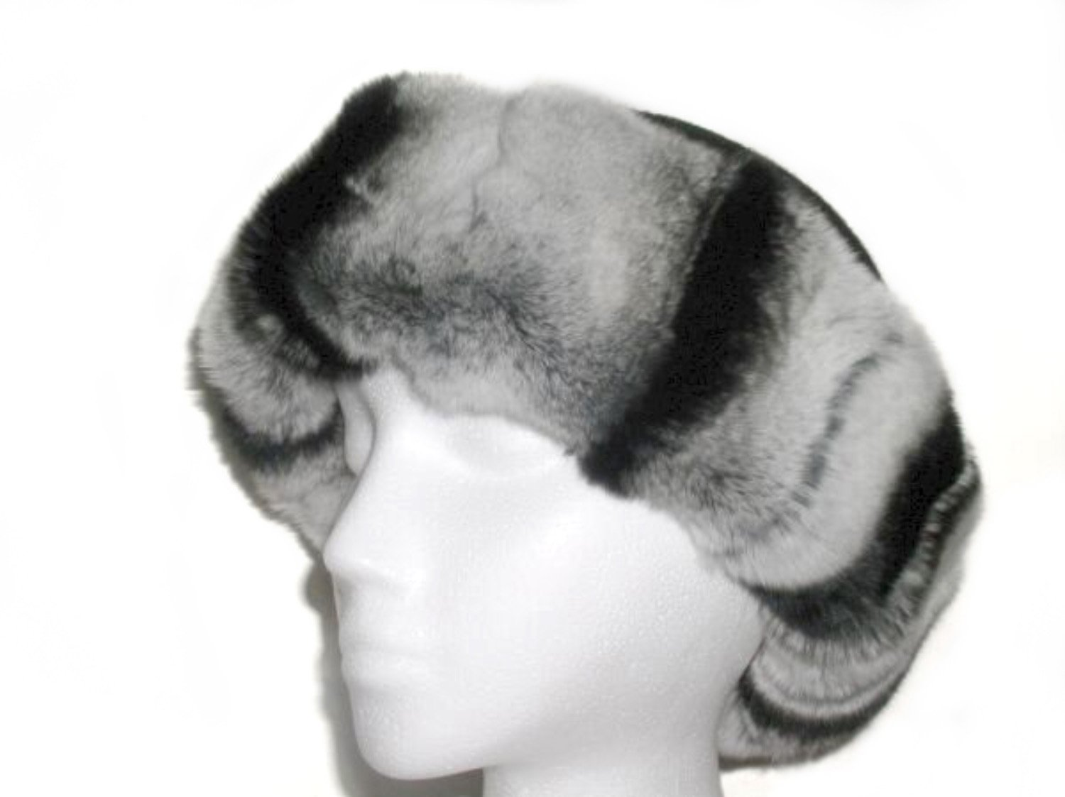 Rex Chinchilla Cuffed Hat w/Black Round Felt Crown
