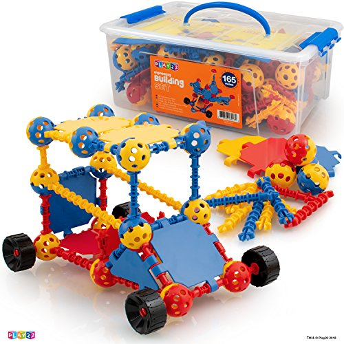 Play22 Building Toys For Kids 165 Set - STEM Educational Construction Toys - Building Blocks For Kids 3+ Best Toy Blocks Gift For Boys and Girls - Great Educational Toys -