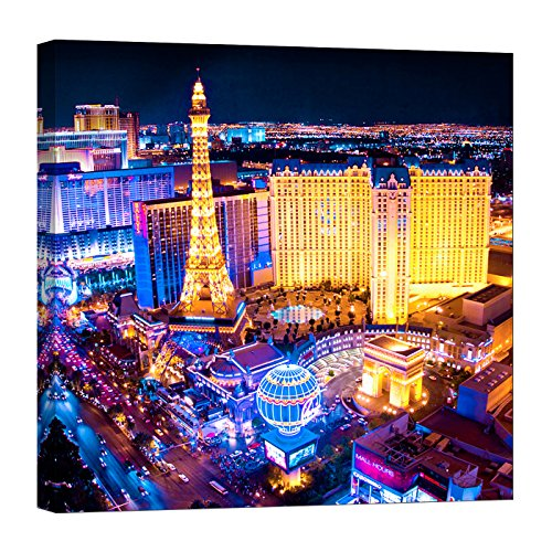 LightFairy Glow in the Dark Canvas Painting - Stretched and Framed Giclee Wall Art Print - City Urban Decor Paris Las Vegas - Master Bedroom Living Room Decor - 6 Hours Glow - 32 x 32 inch