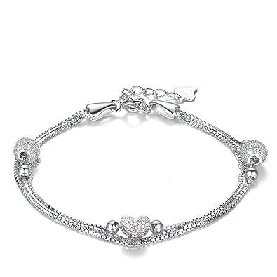 Schmuck damen  J.Vénus Damen Schmuck, Damen Armband Silber mit Herz Anhänger 925 ...