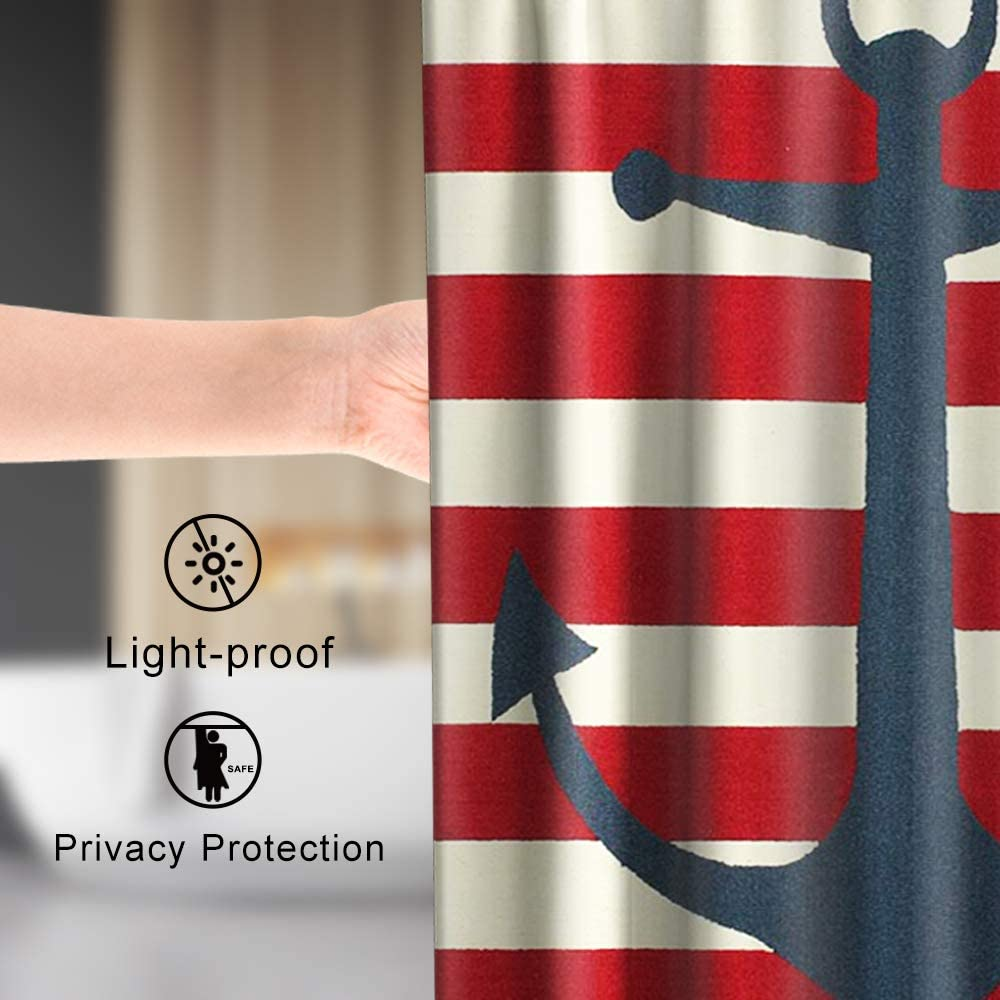 Lifeasy Nautical Anchor Shower Curtain Cloth Fabric Kids Bathroom Decor Set with Hooks Waterproof Washable 72 x 72 inches