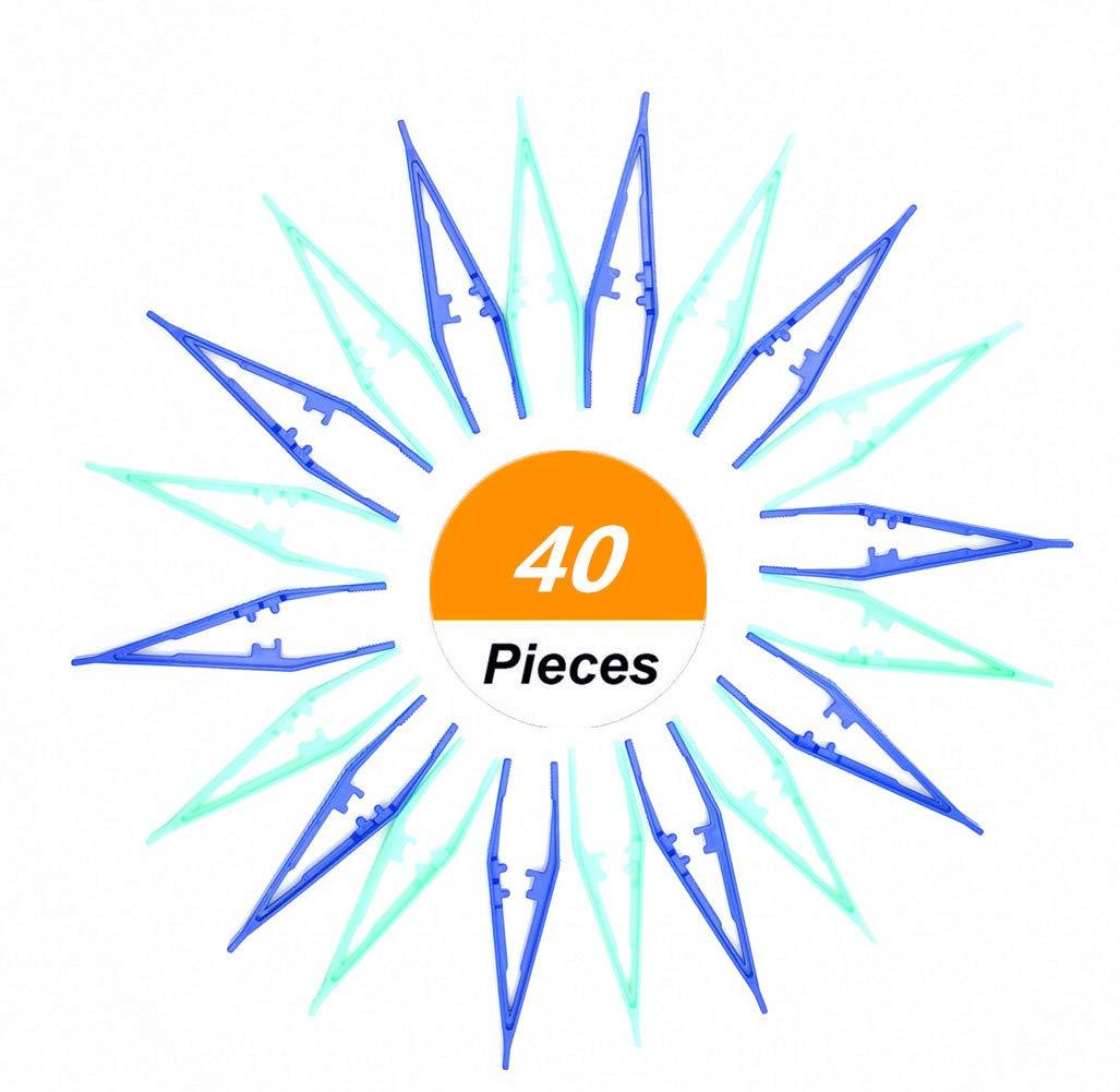 HYOUNINGF Beads Tweezers Plastic Craft Tweezers for DIY, Green and Blue (40 Pack)