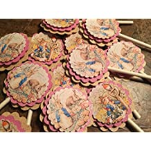 New....Peter Rabbit CUPCAKE TOPPERS Classic Edition Set of 12 in Blue or Pink