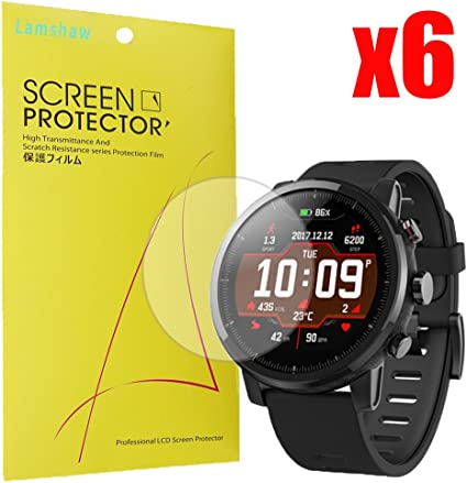 Lamshaw for Amazfit Stratos Screen Protector, Premium High Definition Ultra Clear for Amazfit Stratos Multisport GPS Smartwatch (6 Pack)