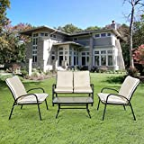 iKayaa 4 Piece Outdoor Converstion Set Patio Furniture Custioned Seats Steel Frame (Creamy White)