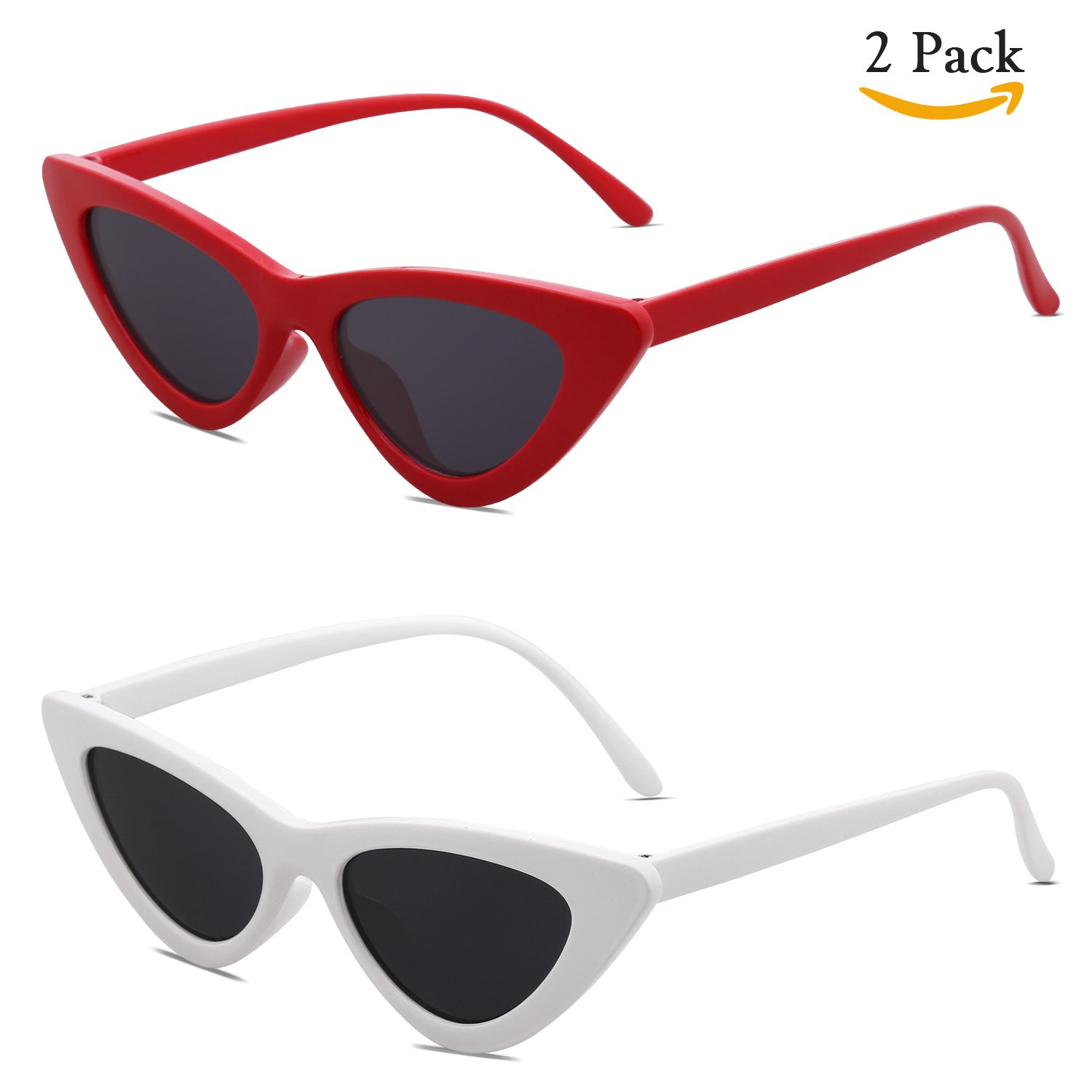 SOJOS Clout Goggles Cat Eye Sunglasses Vintage Mod Style Retro Kurt Cobain Sunglasses SJ2044 with Red Frame/Grey Lens + White Frame/Grey Lens 2 Pairs of Sunglasses