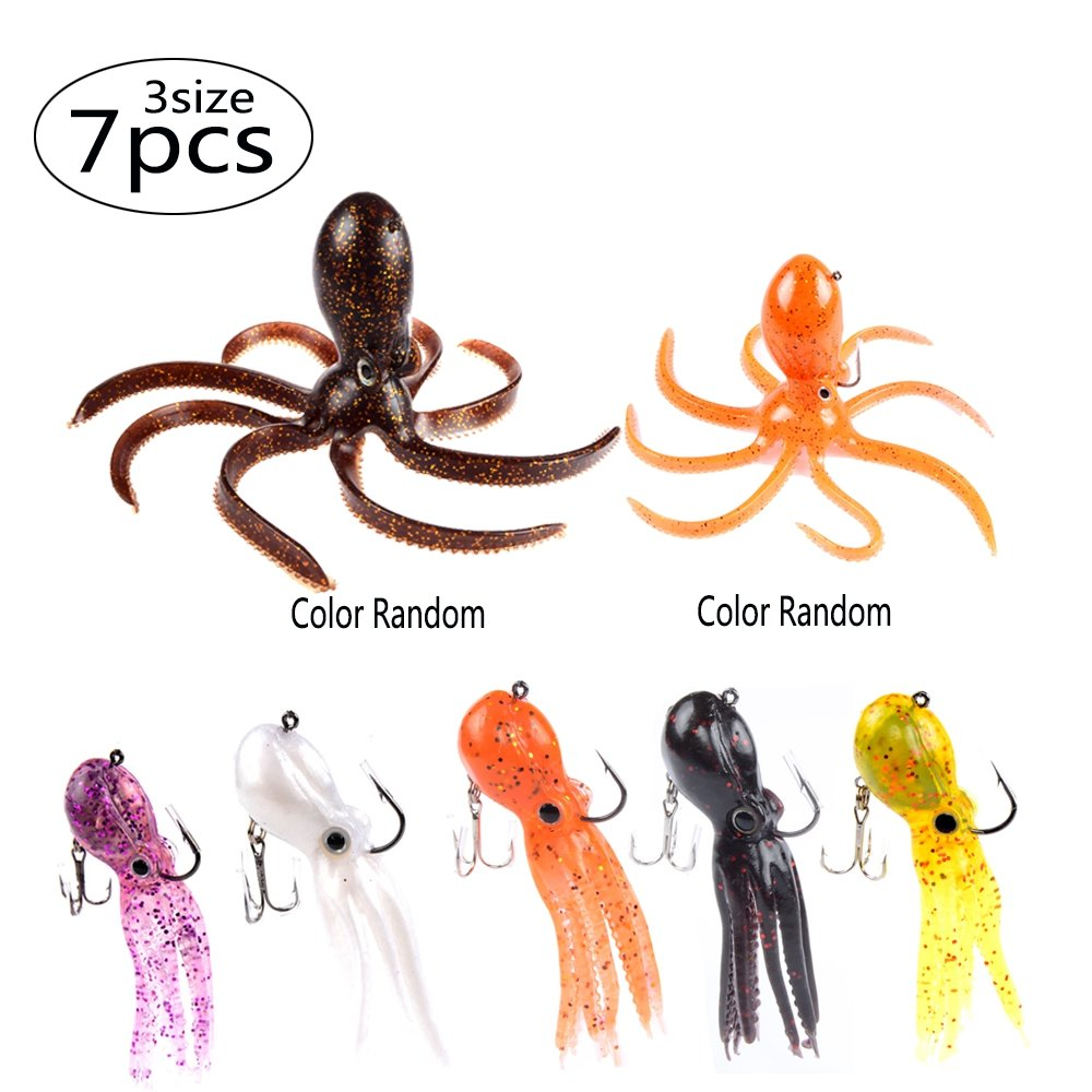 East Rain Artficial Octopus Soft Baits for Fishing Lures,Soft Lead Sinking Swimbait,Jig Head Lure(Mulit-Colors,7pcs,3size 3.54/7.87/9.45inch,0.81/6.35/9.88oz.)