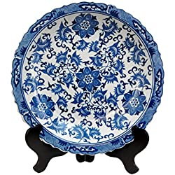 "Oriental Furniture 14"" Floral Blue & White Porcelain Plate"