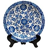 Chinese export style decorative plate with classic vine and flower pattern and an antiqued ice crackle glaze. Display on a breakfront or a buffet, singly or in pairs, or mount on the wall in the dining room or kitchen. Ming blue and white por...