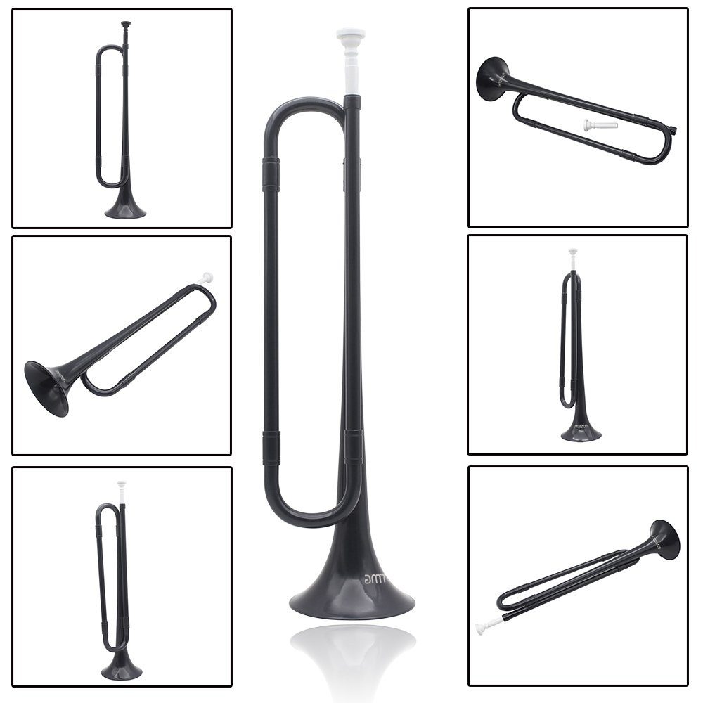 ammoon Bugle B Flat Trumpet with Mouthpiece for Band School Student (Black) by ammoon (Image #2)