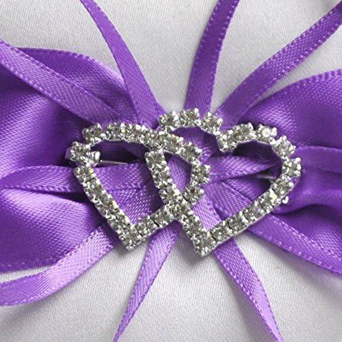 Violet Fanuse Double-Coeur Strass Alliance Coussin doreiller Porteur