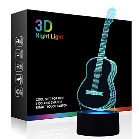Led Night Lights Lights & Lighting Special Section New Violin 3d Lamp Colorful Remote Touch Switch Lovely 7 Color Change 3d Led Night Light Kids Room Led Kids Lights Lamps Reasonable Price