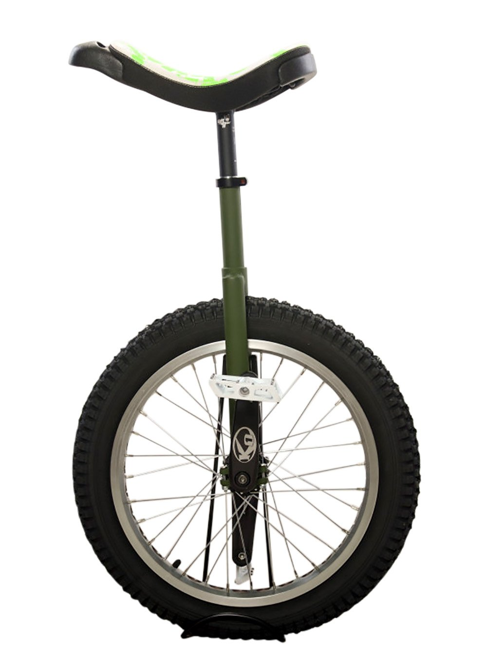 Koxx Fluo 20 Trials Unicycle, Black/Green with Silver Rims and White Pedals by Koxx