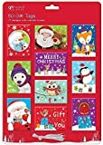 50 Cute Santa, Snowman, Penguins Christmas Gift Tags Tie On Labels Assorted Designs & Metallic Thread