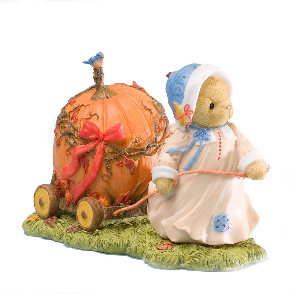 Enesco 4023639 Cherished Teddies Collection Pulling Pumpkin Car Figurine