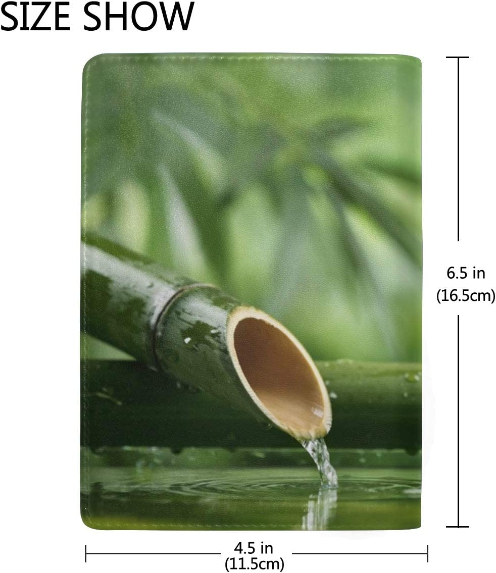 Stones In Garden With Flow Water Bamboo Blocking Print Passport Holder Cover Case Travel Luggage Passport Wallet Card Holder Made With Leather For Men Women Kids Family