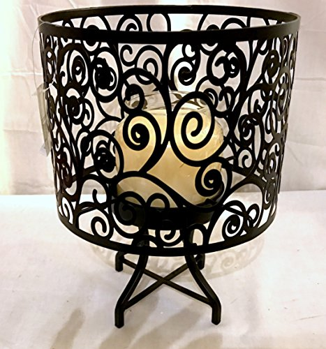 New Yankee Candle Black Scroll Design Lamp Shade and Base Jar Candle (Scroll Candle)