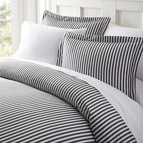 3 Piece White Grey Pinstripes Duvet Cover King Set, Vertical Stripes Bedding Stylish Striped Pattern Ribbon Design Dobby Stripe Line Graphic Artistic, Microfiber Polyester