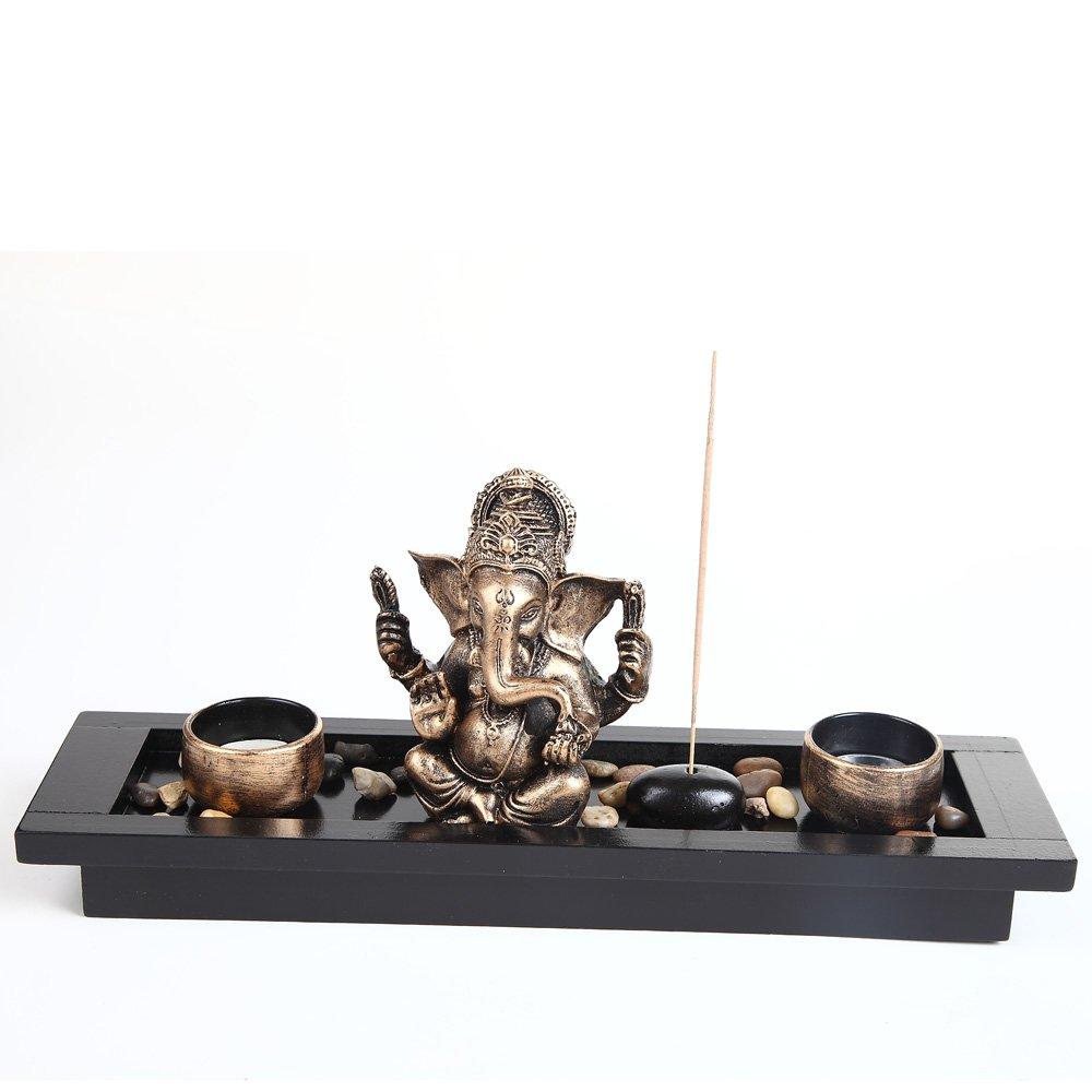 Elephant Head Ganesha Ornament Statue Candle Holders Gift Set HY1418 london boutique