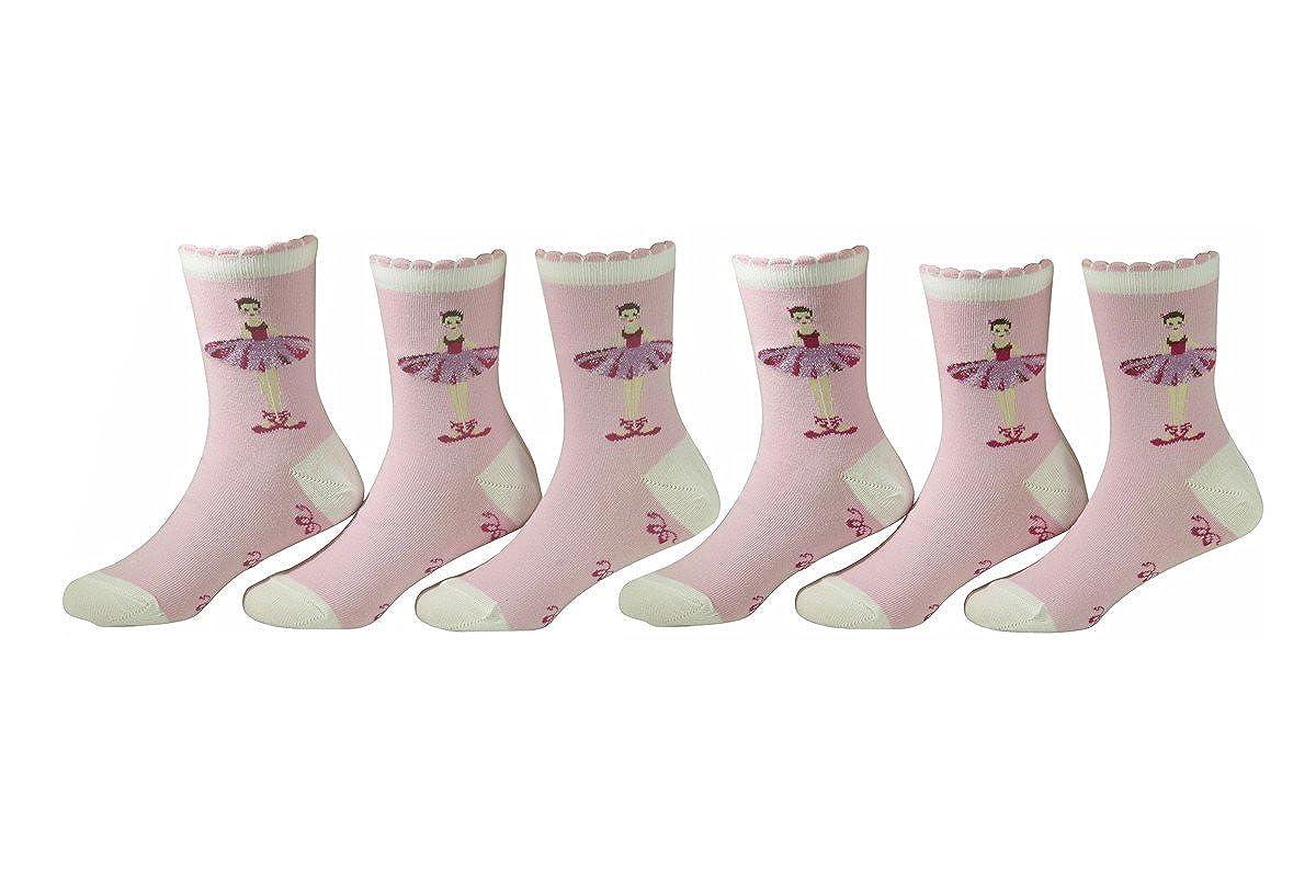Country Kids Girls 6-Pairs Ballerina Crew Socks