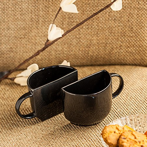 ExclusiveLane Unique Half Ceramic Cups Set In Black - Handmade Cups Party Cups Coffee Mugs Mug Set Espresso Cups Tea Cups Novelty Coffee Mugs Drinkware Teacups Tea Sets Handmade Mugs