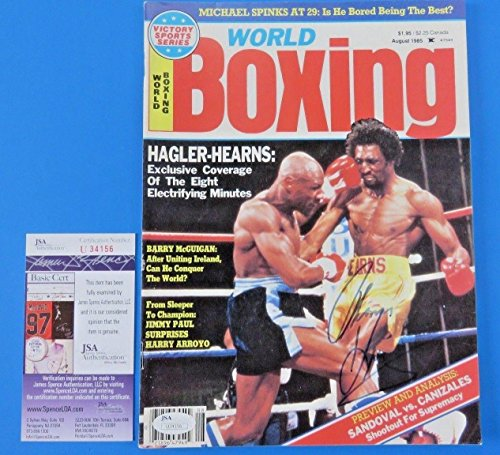 THOMAS HEARNS SIGNED WORLD BOXING MAGAZINE ~ vs MARVIN HAGLER ~ U34156 - JSA Certified - Autographed Boxing Magazines (Boxing World Magazine)