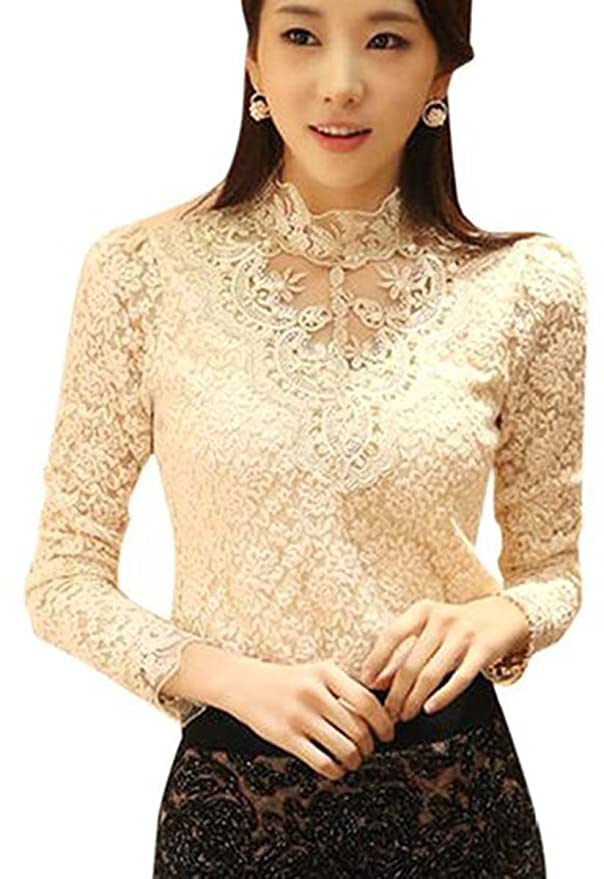 Edwardian Style Blouses Long Sleeve Crochet Top $13.90 AT vintagedancer.com