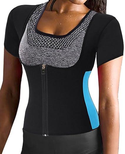 d87a176bb15 Amazon.com  Women s Neoprene Sauna Sweat Waist Trainer Vest with Zipper for Weight  Loss Gym Workout Body Shaper Tank Top Shirt  Sports   Outdoors