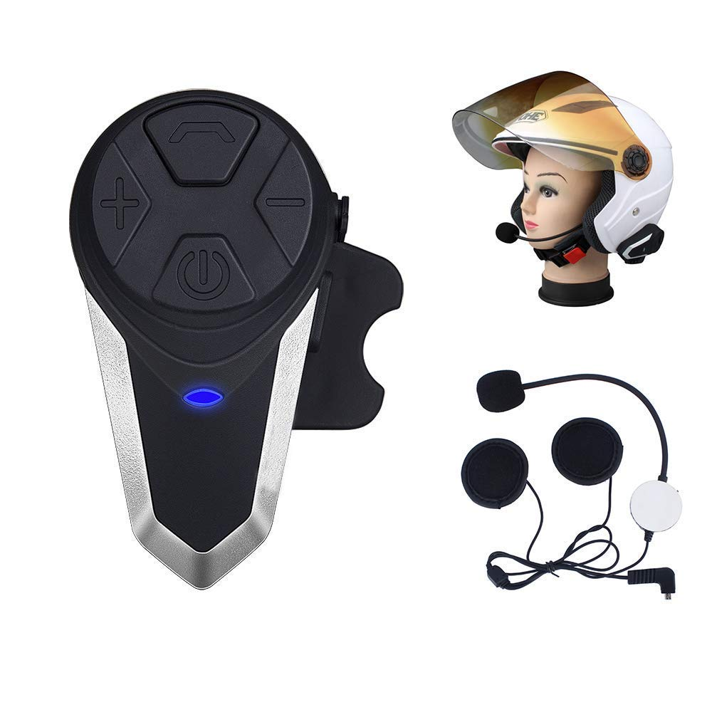 Dual Evary Motorcycle Bluetooth Headset Intercom Universal Microphone Kit Range 1200m 8 Hours Talk Time Motorcycles Scooters 2 More Aspects Communication BTIV6-BK-02UK